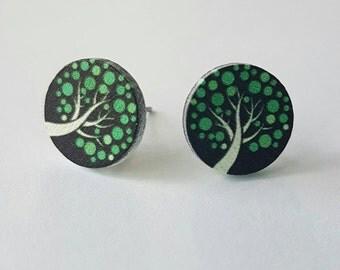 Hand painted wooden stud earrings.