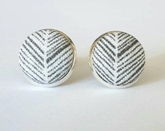 Fabric button silver studs
