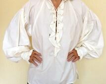 Men's Pirate Shirt,Renaissance Shirt,Soldier Shirt,Lace up Shirt,White Shirt,Jack Sparrow Shirt