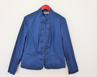 Marching Band Jacket Womens Double Breasted Military Blazer Blue Cotton Jacket Metal Buttons  Large to XL Size