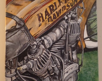 "Original ""Vintage Harley"" Unframed Acrylic Painting on a Stretched Gallery Canvas. #16-060"