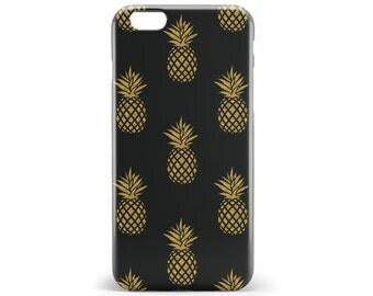 1377 // Gold Pineapple on Black Phone Case iPhone 5/5S, 6/6S, 6+/6S+ Samsung Galaxy S5, S6, S6 Edge Plus, S7