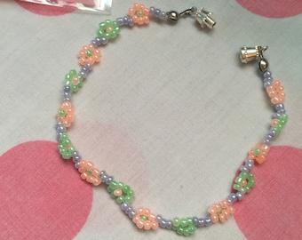 Floral multi colored beaded bracelets