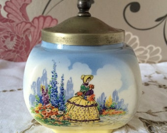 Lancaster China, Crinoline Lady Jam Pot/Sugar Bowl, with EPNS lid. Pretty and Useful at the Same Time!