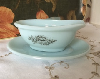 Vintage/Retro Phoenix Glass Gravy Boat with Saucer, Pale Turquoise Blue with Rose Pattern in Grey.  Made in England