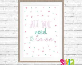 Pink And Teal Girls Quote Print- Digital Download