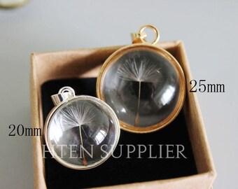 2pcs handmade Real dry dandelion brass pendant 20mm 25mm glass cabochon, Dandelion pendants, dandelion jewelry