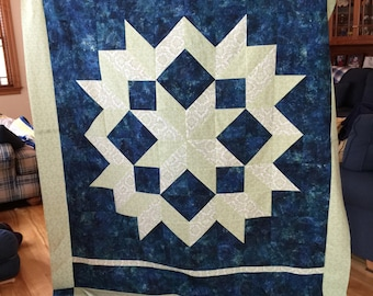 Blue/Green Carpenter Star Quilt