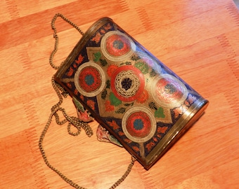 Vintage Solid Brass Purse with Painted Machining Decoration Shoulder Chain, Needs Interior Replaced      00923