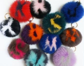 Customized Initial Pompom Bag Charm - Fox Fur