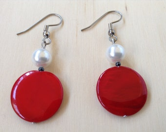 Bright red mother of pearl with white pearl earrings (item #315)