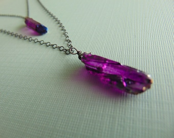 Purple Quartz crystal necklace with A Ox Sterling Silver chain - trendy - jewellery - statement piece