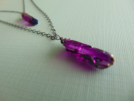 20% Purple Quartz crystal necklace with A Ox Sterling Silver chain - trendy - jewellery - statement piece