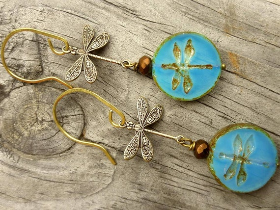 Green Dragonfly earrings, Dangle Earrings, Dragonfly Jewelry, Aqua Blue Glass Earrings, gift for her