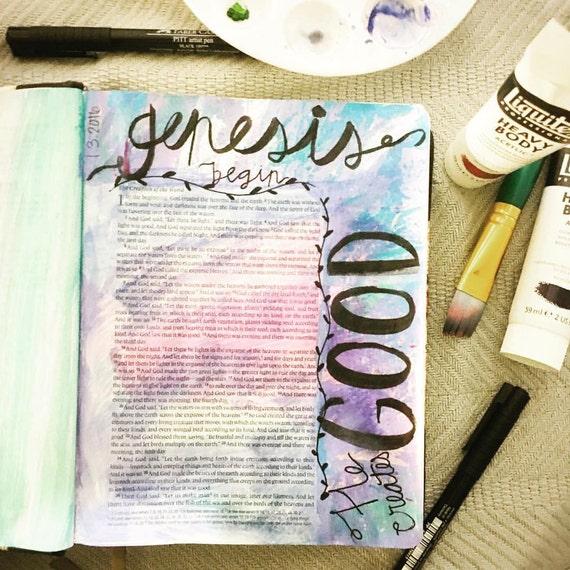 Downloadable Bible Journaling print - Genesis 1