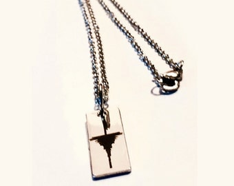 """Upgraded Chain """"Charmed"""" Waveform Necklace in Stainless Steel Tag w/ YOUR Sound Wave Engraved (Laser Marked) Soundwave"""
