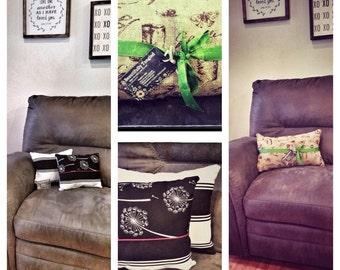 Decorative Throw Pillow - Blue, Pink, Dandelion