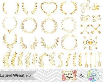 Gold Laurel Wreath Digital Clip Art, Hand Drawn Golden Laurel Wreath Leaf Clipart Leaf Branches, Laurel Branches, Gold Arrow Clipart 0221