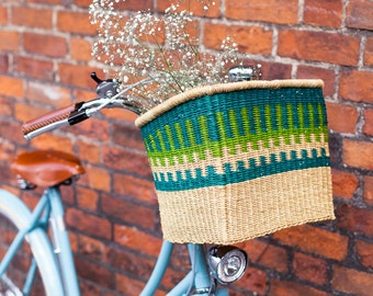 Green and Blue Bolga Bike basket
