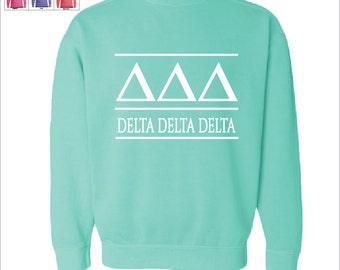 Delta Delta Delta // Tri Delta // Sorority Comfort Color Greek Letters Sweatshirt // Choose Your Color