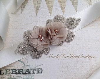 Wedding Dress Sash, wedding belt Sash, bridal sash/belt, Bridal Belt, Tan Brown Bridal Sash, Bridesmaid Sash/Belt, Flower Wedding Sash,