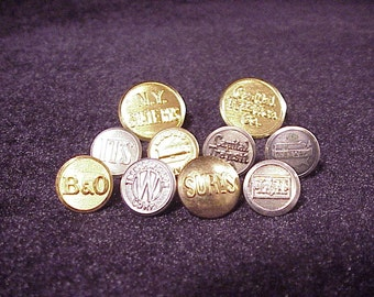 Lot of 10 Vintage Transportation Metal Uniform Buttons, Railroad, Bus, Transit, B and O, Land N, SURYS, ITS, Trailways, Capital, Sewing