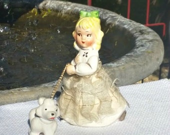 Vintage Girl with Poodle on Chain Collectible Bisque Figurine