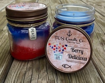 BERRY DELICIOUS 8oz Scented Candle ~ Wild Berries ~ Fruity ~ Fresh and Clean ~ Mason Jar Candle ~ Square Mason Jar, Hand Poured Candle