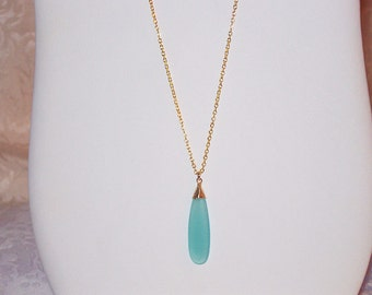 Long CHALCEDONY Pendant Necklace * 14k Gold Filled Chain * Delicate, Dainty * Minimal, Simple * Perfect for Layering!