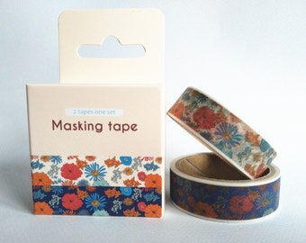washi tape set/ masking tape set  (2 rolls, flowers)