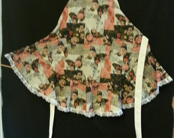 Romantic pink and black butterfly fabric in a ruffle apron and potholders