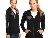 Baseball Mom Heart Baseball with Rhinestone Women's Fleece Hoodie Sweatshirt Jacket