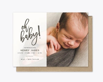 Oh Baby Photo Baby Announcement Printable
