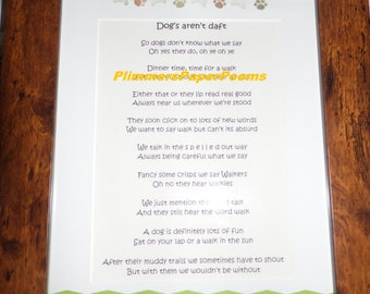 "Framed poem ""Dogs aren't daft"" my own work (soon to be published in a poem publication)"
