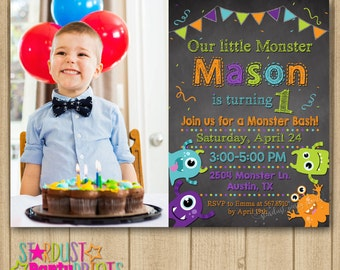 Monsters Birthday Invitation. Monster Photo Invitation, Monster Birthday, Monster Chalkboard Invitation, Monster First Birthday
