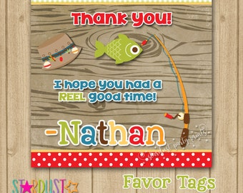 Fishing Favor Tags, Gone Fishing Favor Tags, Fishing Thank You Tags, Fishing Party