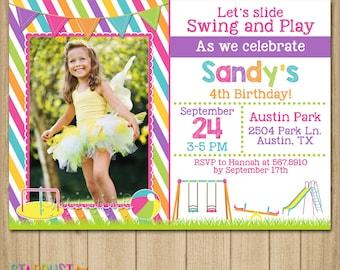 Playground Birthday Invitation, Playground Invitation, Playground Birhtday, Park Birthday, Park Invitation, Printable Invitation