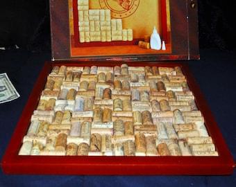 Wine enthusiast Cork Board. 16x16. plus unmounted corks! Wall Decor, Kitchen Message Board.