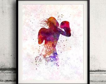 Woman boxer boxing kickboxing 02 - 8x10 in. to 12x16 in. Poster Digital Wall art Illustration Print Art Decorative - SKU 1591
