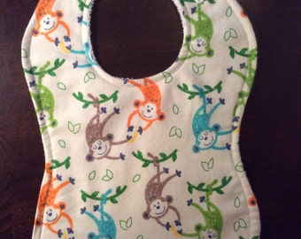 Swinging Monkey's Adjustable Snap Closure Bib - Grows With Your Baby!