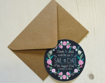 Set of 12+ Personalised Save the Date Magnets with Envelopes - Floral Chalkboard
