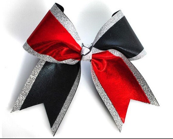 Black Red And Silver Cheer Bow Black And Red Personalized