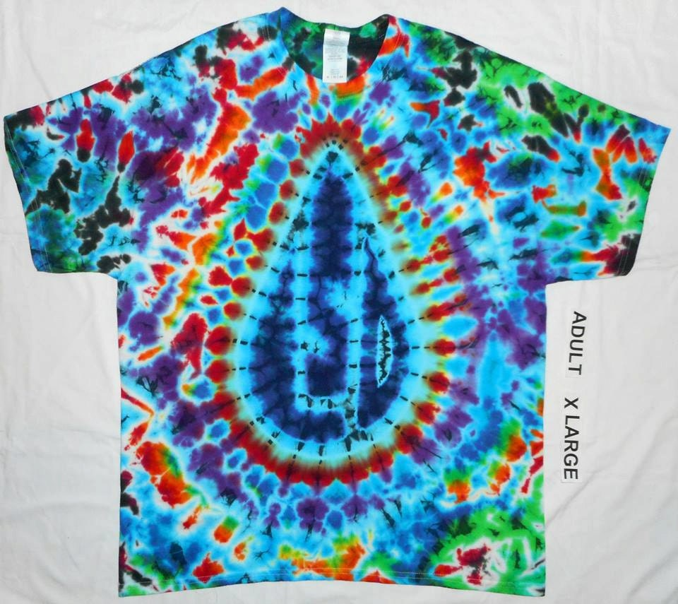 free shipping handmade trippy tear drop tie dye shirt