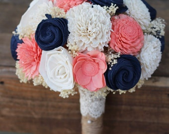 Navy Coral Bouquet, wedding, wedding flowers, wedding bouquet, bridal bouquet, bridesmaid bouquet, keepsake bouquet, rustic bouquet