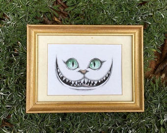 Cheshire Cat Grin Original Ink/Colored Pencil Drawing Alice's Adventures in Wonderland