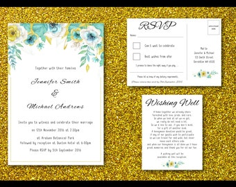 Wedding Invitation Set | Digital File | Foliage | Mint & Gold/Yellow | DIY | Printable
