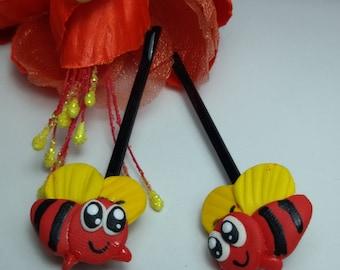 Bee hiar pin, hair pin clay, jewelry hair pin, fancy clay, red hair pin, red jewelry