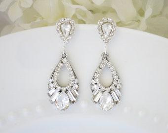 Swarovski teardrop wedding earring, Rhinestone drop bridal earring, Unique crystal post earring