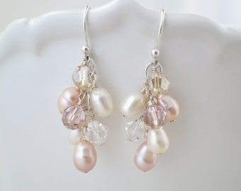 Blush cluster earring, freshwater pearl and Swarovski crystal