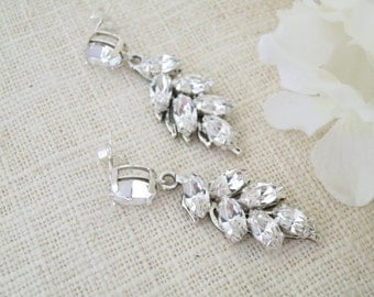 Rhinestone leaf wedding earring, Swarovski rhinestone drop earring, Crystal bridal earring